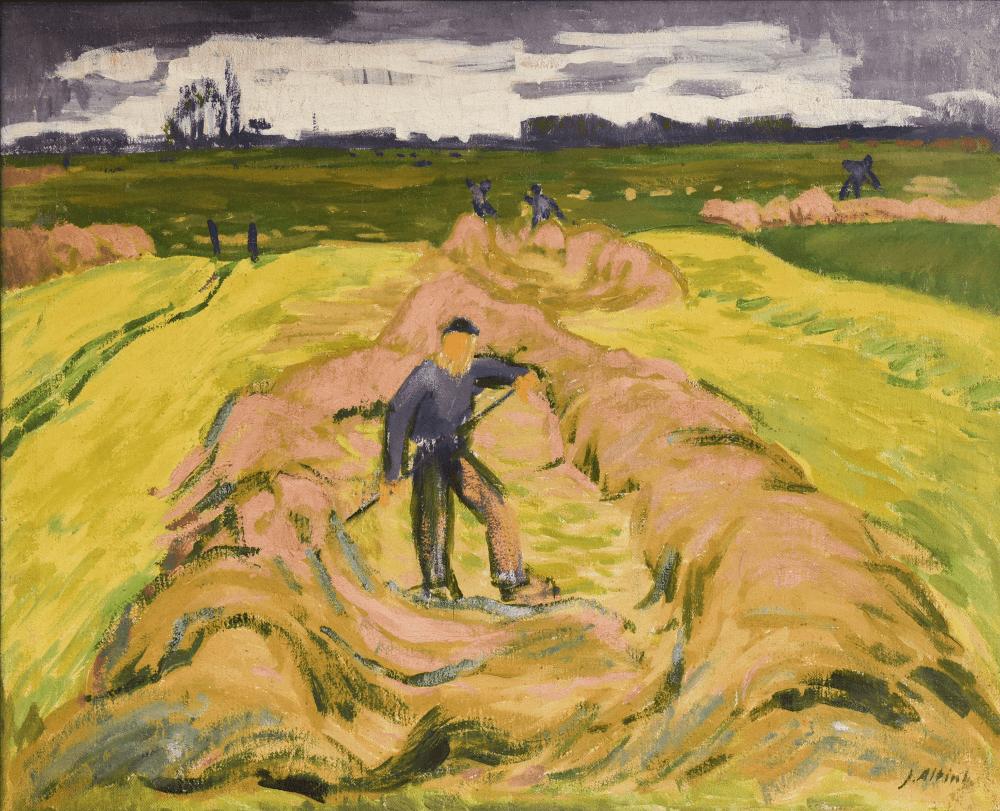 Boer in hooiland