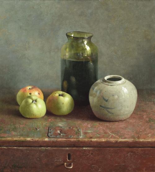Stilleven met appels en vazen