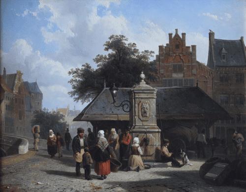 Plein in Hollandse stad