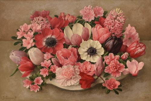Bloemstilleven in roze