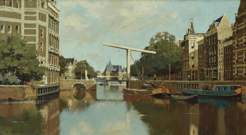 Stadsgezicht Amsterdam met De Waag