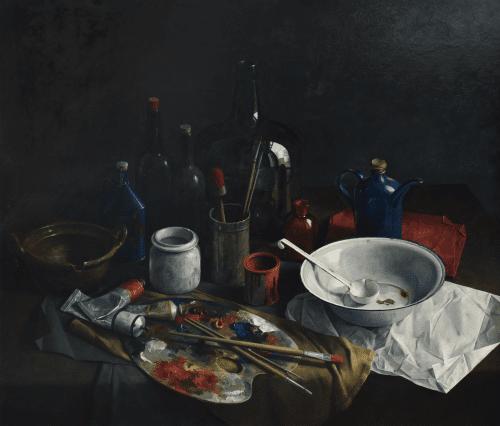 Stilleven met schilders-attributen