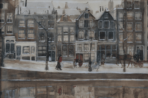 Winters stadsgezicht te Amsterdam